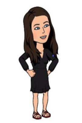 Image: cartoon image of a person with light skin, dark brown hair, a black dress, and sandals. The cartoon image is smiling and has their hands on their hips.