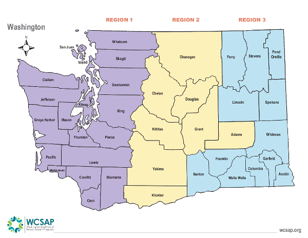 Map on Washington showing WCSAP's 3 regions